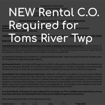 New Toms River Twp Rental Certificate of Occupancy